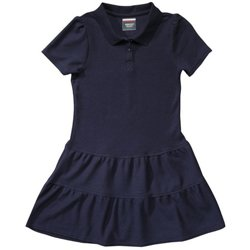 Girls' Ruffled Pique Polo Dress