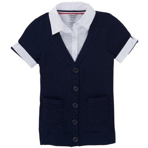 French Toast Girls' Plus Size Short Sleeve Cardigan Blouse 2-fer Top