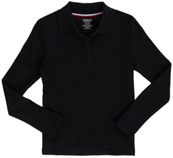 French Toast Girls' Plus Size Long Sleeve Interlock Knit Polo