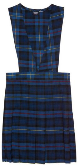 French Toast Girls' V-neck Pleated Plaid Jumper