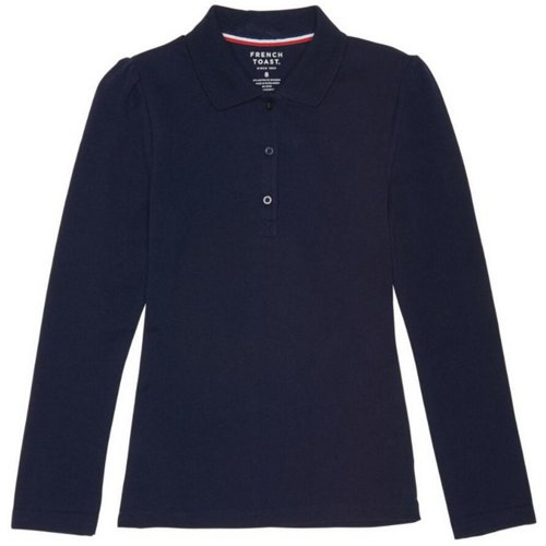 French Toast Girls' Plus Size Long Sleeve Stretch Pique Polo Shirt