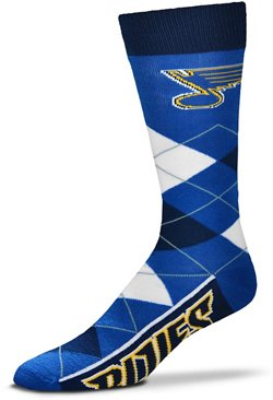 For Bare Feet Men's St. Louis Blues Argyle Lineup Socks
