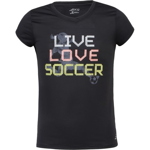 BCG Girls' Live Love Soccer Short Sleeve T-shirt