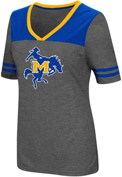 Colosseum Athletics Women's McNeese State University Twist V-neck 2.3 T-shirt