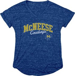 Blue 84 Women's McNeese State University Dark Confetti V-neck T-shirt