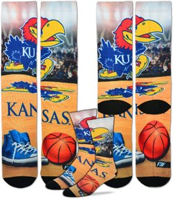 For Bare Feet Men's University of Kansas Mascot Montage Sublimated Crew Socks