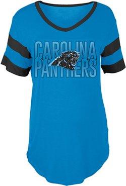 5th & Ocean Clothing Women's Carolina Panthers Sleeve Stripe Fan T-shirt