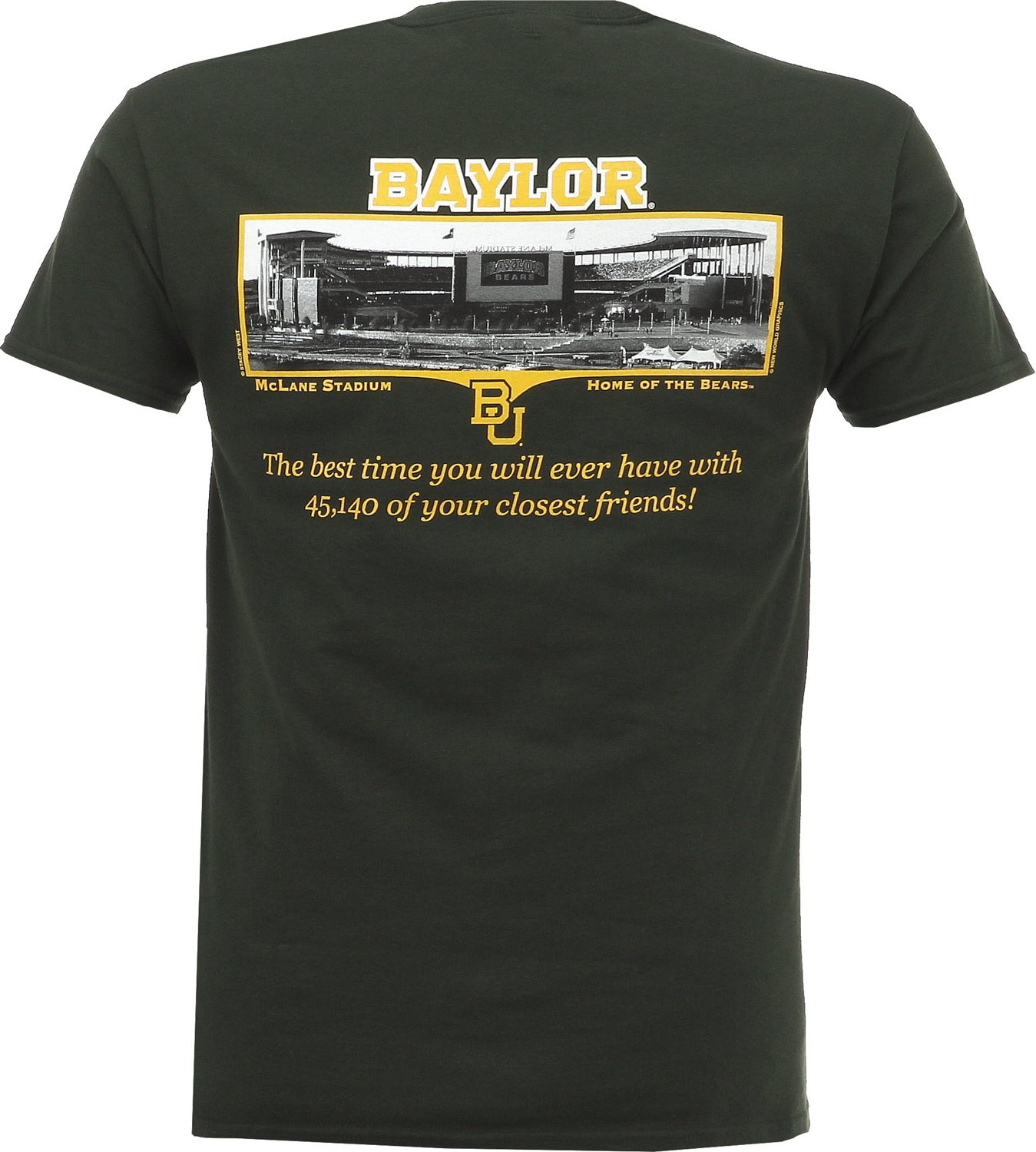 New World Graphics Men's Baylor University Friends Stadium T-shirt