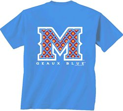 New World Graphics Women's McNeese State University Comfort Color Initial Pattern T-shirt
