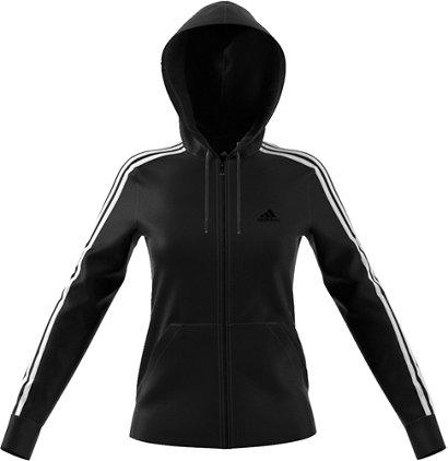 Adidas Womens Essentials Cotton Fleece 3 Stripes Full Zip Hoodie