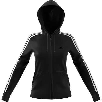 Adidas Womens Essentials Cotton Fleece 3 Stripes Full Zip Hoodie