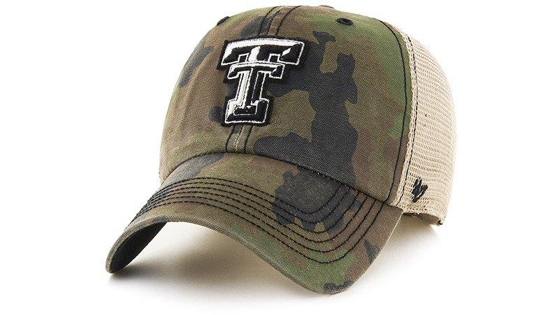 '47 Texas Tech University Burnett Frontline Camo Clean Up Cap (Dark Green/Light Green/Dark Khaki, Size One Size) – NCAA Licensed Product, NCAA Men's Caps at …
