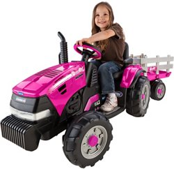 Peg Perego Girls' Case IH Magnum 12 V Ride-On Tractor and Trailer