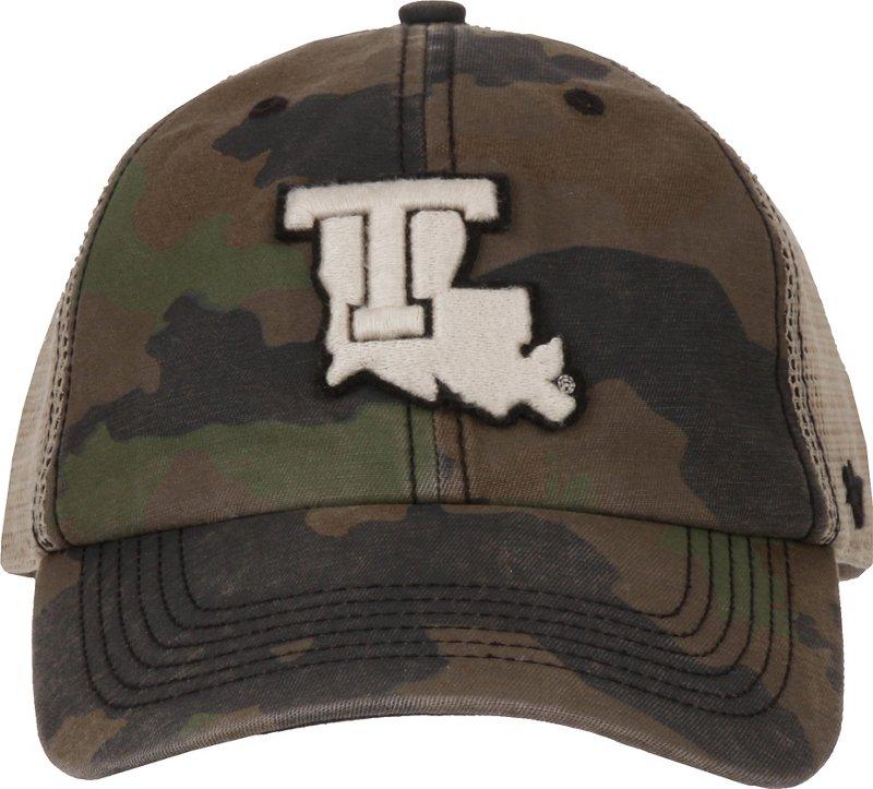 '47 Louisiana Tech University Burnett Frontline Camo Clean Up Cap (Dark Green/Light Green/Dark Khaki, Size One Size) – NCAA Licensed Product, NCAA Men's Caps…