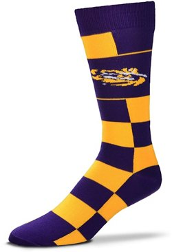 For Bare Feet Louisiana State University Jumbo Check Thin Knee High Dress Socks