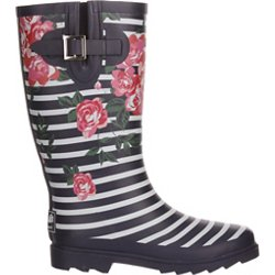 Women's Floral Stripe Rubber Boots