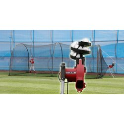 Jr Real Baseball Pitching Machine and 24 ft Xtender Batting Cage Set