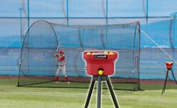 Crusher Mini Lite-Ball Pitching Machine and 12 ft Home Run Batting Cage Combo