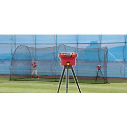 Crusher Mini Lite-Ball Pitching Machine and 22 ft Power Alley Batting Cage Combo
