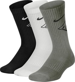 Boys' Performance Cushioned Crew Wordmark Training Socks 3 Pack