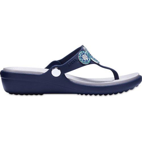 Crocs Women's Sanrah Diamante Wedge Flip Flops