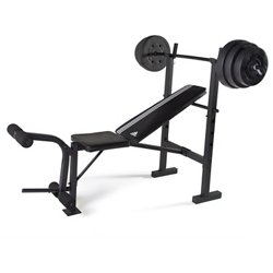 adidas ESSENTIAL Combo Bench with 100 lb Weight Set