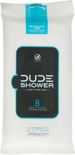 DUDE Shower Body Wipes 8-Pack