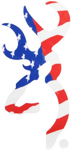 Browning 6 in American Flag Buckmark Decal
