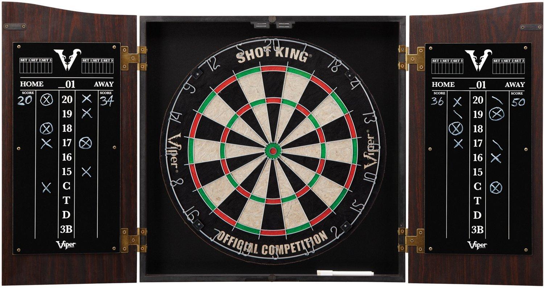 Viper Vault Dartboard Cabinet With Shot King Sisal Dartboard   Academy