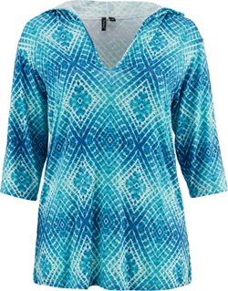 Porto Cruz Women's Pool Party 3/4-Length Sleeve Hooded Cover-Up Tunic