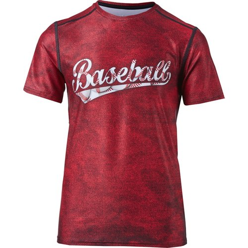 BCG Boys' Baseball Word Fitted Compression T-shirt