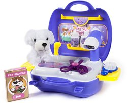 World Tech Toys Pet Grooming 16-Piece Suitcase Play Set