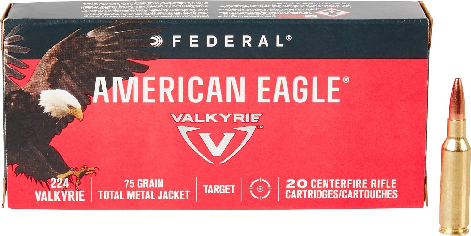 Federal Premium American Eagle .224 Valkyrie 75 Grain TMJ Rifle Ammunition