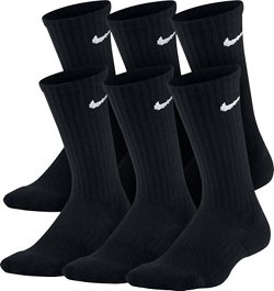 Boys' Performance Cushioned Crew Training Socks 6 Pack