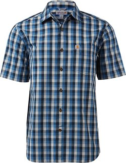 Men's Essential Plaid Open-Collar Short Sleeve Button-Down Shirt