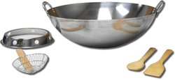 King Kooker 22 in Stainless-Steel Wok Set