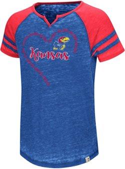 Colosseum Athletics Girls' University of Kansas The Babe Raglan T-shirt