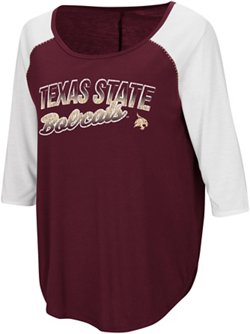 Colosseum Athletics Women's Texas State University Draw A Crowd Baseball T-shirt