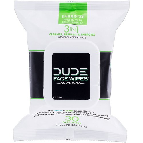 DUDE Energize 3-in-1 Face Wipes 30-Pack