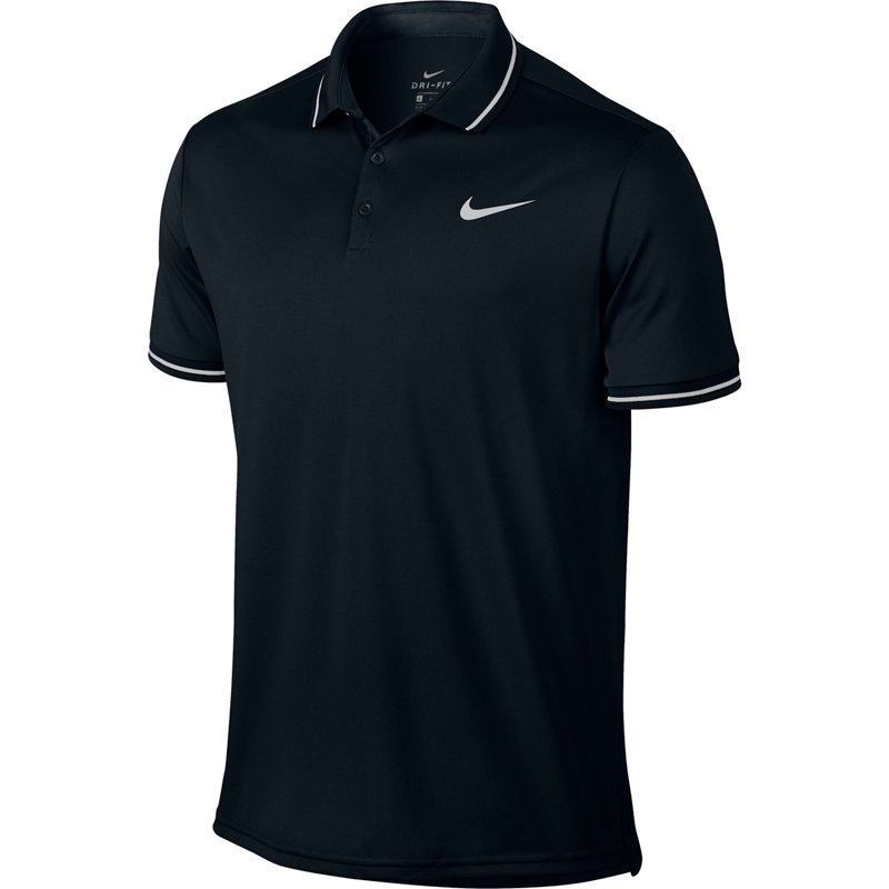 07575e09 Nike Men's NikeCourt Tennis Polo Shirt Black/White, Large - Mens Tennis Tops  at