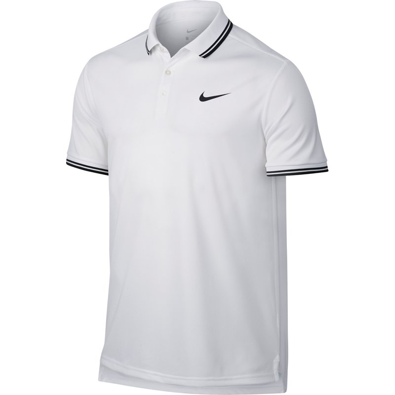 4b01d762 Nike Men's NikeCourt Tennis Polo Shirt White/Black, Large - Mens Tennis Tops  at