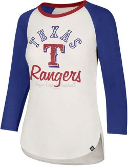 '47 Women's Texas Rangers Arch Script Splitter Raglan 3/4 Sleeve T-Shirt