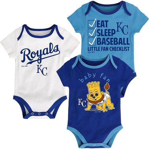 MLB Infants' Kansas City Royals Play Ball Creepers 3-Pack