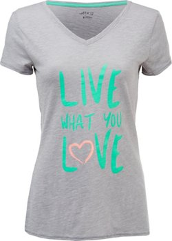 BCG Women's Live Love Graphic V-neck T-shirt