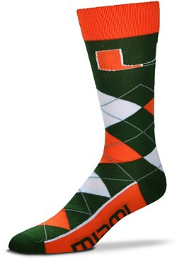 For Bare Feet Men's University of Miami 505 Argyle Line Up Socks