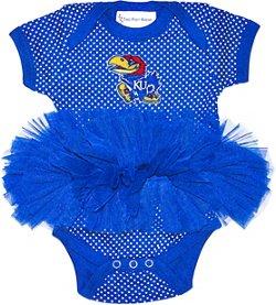 Two Feet Ahead Infant Girls' University of Kansas Pin Dot Tutu Creeper