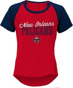 NBA Girls' New Orleans Pelicans Anthony Davis 23 Half Court Raglan T-shirt
