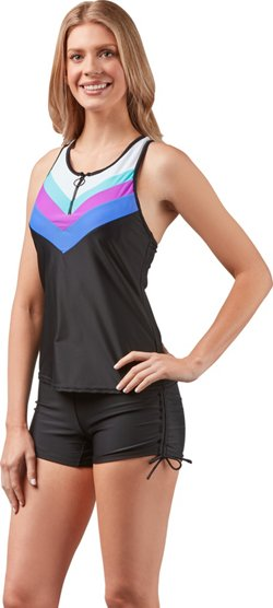 Women's Swim Sporty Chevron Zipper Tankini Swim Top