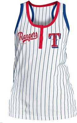5th & Ocean Clothing Women's Texas Rangers Pinstripe Tank Top