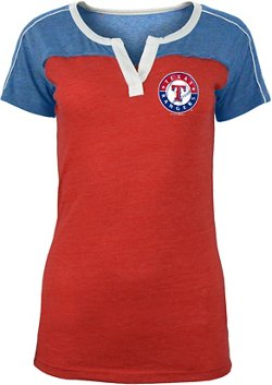 5th & Ocean Clothing Women's Texas Rangers Triblend Jersey Split Scoop T-shirt
